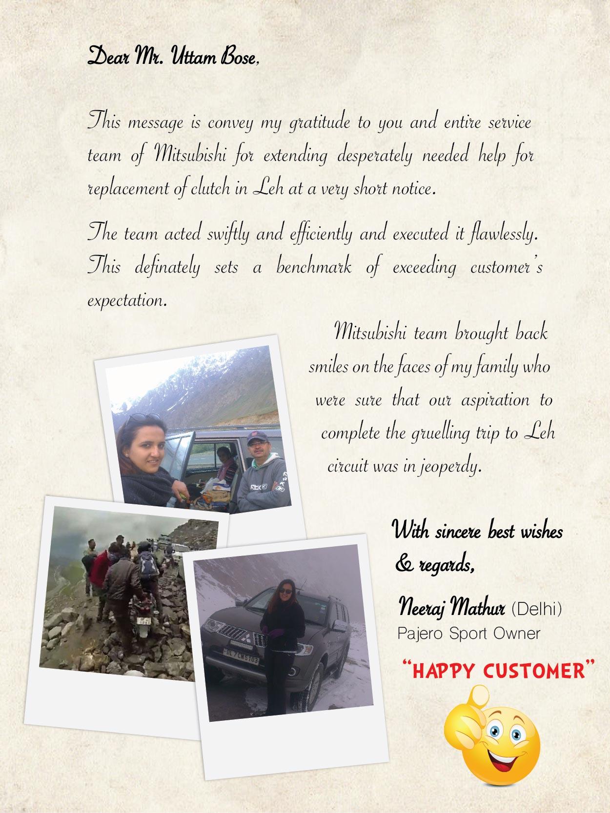 Customer delight for Mitsubishi motors customer service