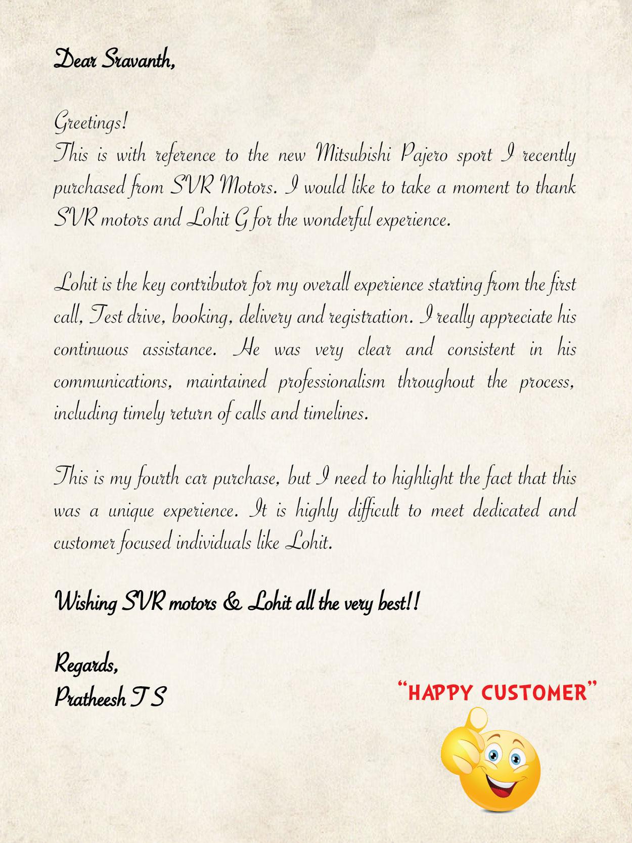 Customer delight pratheesh j s bangalore for Mitsubishi motors customer service